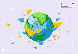 Vector illustration of flying paper airplanes around the planet earth