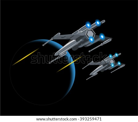 vector illustration of flying