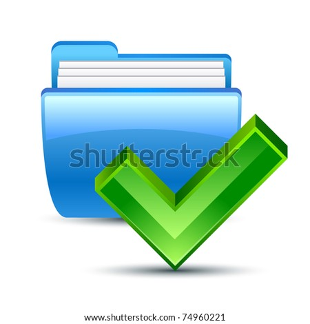 Vector illustration of folder and Ok icon
