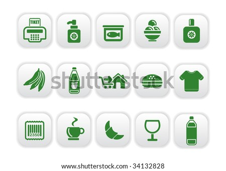 Vector illustration of food and market icons green one