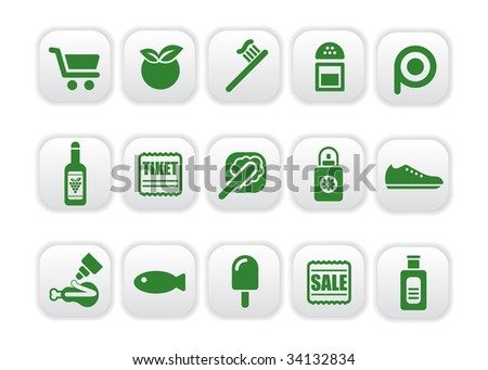 Vector illustration of food and market icons green two