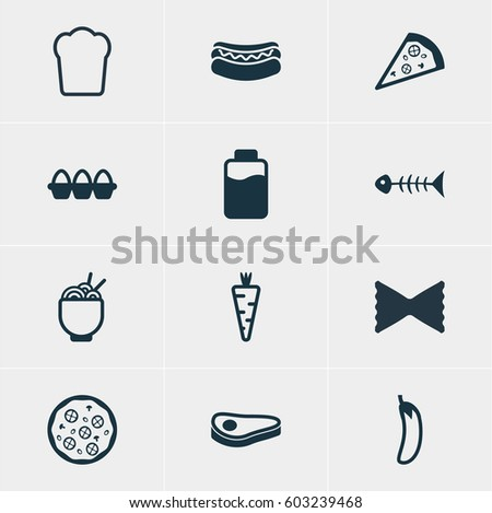 Vector Illustration Of 12 Food Icons. Editable Pack Of Veggie, Beefsteak, Egg Container And Other Elements.