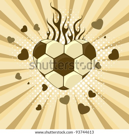 vector illustration of  football in the shape of heart on rays and heart background for Valentines Day and other occasions.