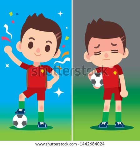 Vector illustration of football player characters in different emotion, winning and losing.