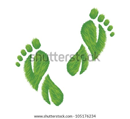 Vector illustration of footprints made of grass.  Represents an eco friendly concept.