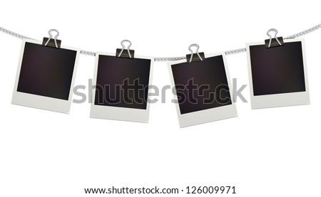 Vector illustration of four blank retro polaroid photo frames over white background