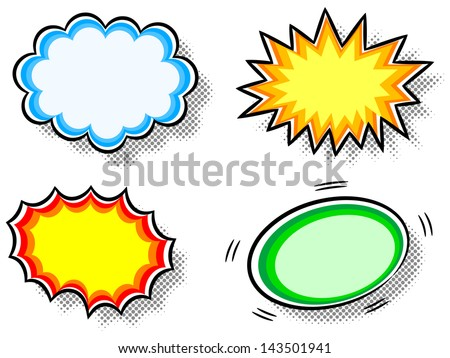 vector illustration of four colorful effect bubbles