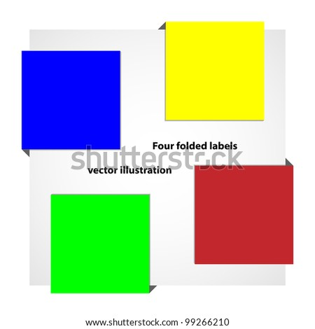 Vector illustration of four colorful labels around square. Background and description in separate layers
