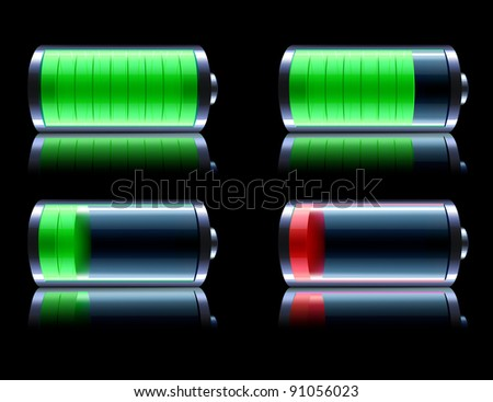 Vector illustration of four detailed glossy battery level indicator icons on black reflective background - stock vector
