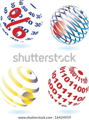 Vector illustration of four different sphere