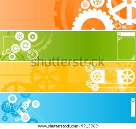 Vector illustration of four different technological and industrial web banners or backgrounds. Highly detailed in various colors.