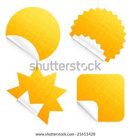 Vector illustration of four different technological peeling stickers with dashed lined texture. Fabric concept too. - stock vector