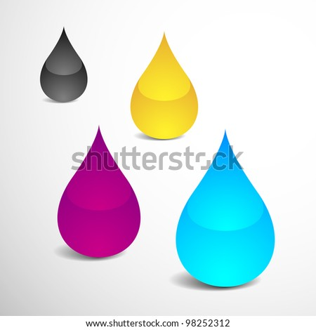 Vector Illustration of Four Drops With Offset Printing Colors (eps v.10) - stock vector