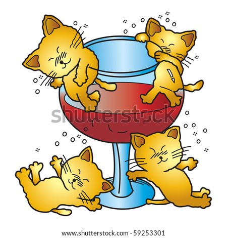 Vector illustration of  four drunken cat. This file has been layered and grouped for easy editing.