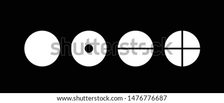 Vector illustration of four elemental symbols: air, earth, fire and water on a black background. Wiccan divination, ancient occult geometry. Mystical sense. Alchemy icons.  Pictograph