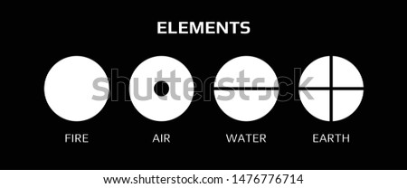 Vector illustration of four elemental symbols: air, earth, fire and water with titles on a black background. Wiccan divination, ancient occult geometry. Mystical sense. Alchemy icons.  Pictograph