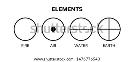 Vector illustration of four elemental symbols: air, earth, fire and water with titles on a white background. Wiccan divination, ancient occult geometry. Mystical sense. Alchemy icons.  Pictograph
