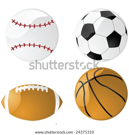 Vector illustration of four glossy sport balls: baseball, football (soccer), American football and basketball