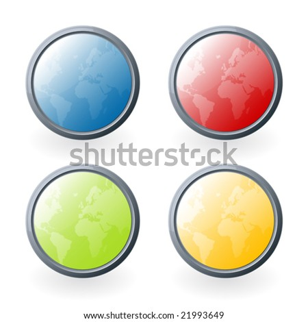 Vector illustration of four highly detailed glossy world map buttons or icons with light beautiful light reflections. - stock vector