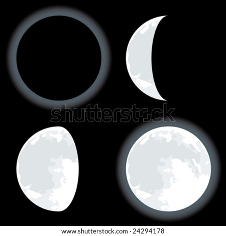 Vector illustration of four moon phases. Only global colors. CMYK. Easy color changes.