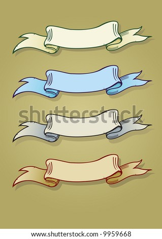 Vector illustration of four old colored banners