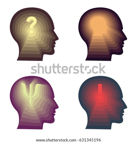 vector illustration of four persons silhouette with thinking reflection for psychological concepts