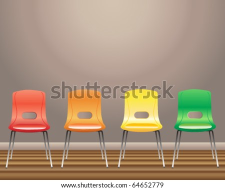 vector illustration of four waiting room chairs in red yellow orange and green against a blank wall in eps10 format