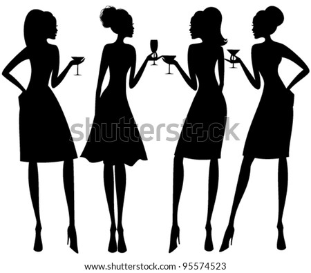 Vector illustration of four young elegant women at a cocktail party. Raster version also available.