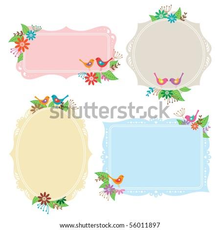 Vector illustration of frames with bird, flower, and leaf elements.