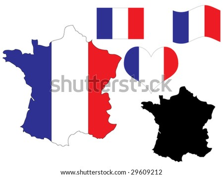 vector illustration of France map with flag and heart in national colors