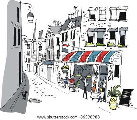 Vector illustration of French cafe with people eating and drinking