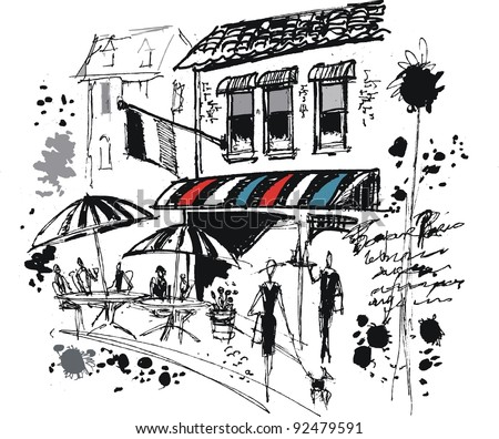 Vector illustration of French cafe with sun umbrellas and people dining