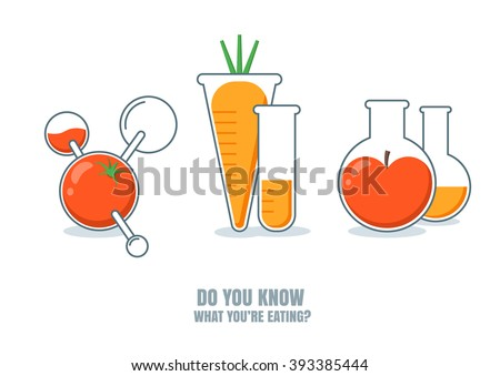 Vector illustration of fruits, vegetables with pesticides or chemicals. Do you know what you're eating. Carrot, tomato, apple icons. Unhealthy or gmo food concept. Farming and agriculture technologies