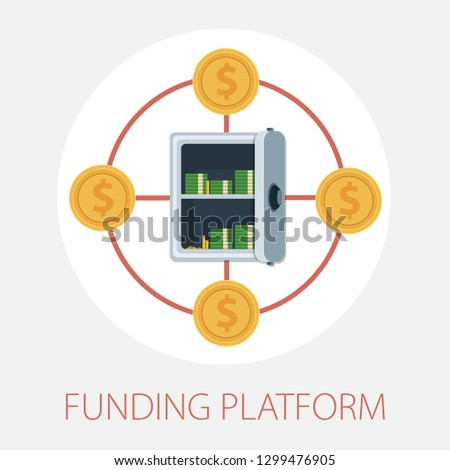 Vector illustration of funding platform & money fund concept with