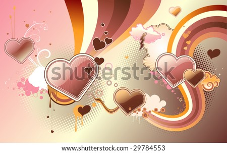 stock vector : Vector illustration of funky styled design background made of heart shapes,
