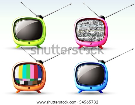 Vector illustration of funky styled design of cute television