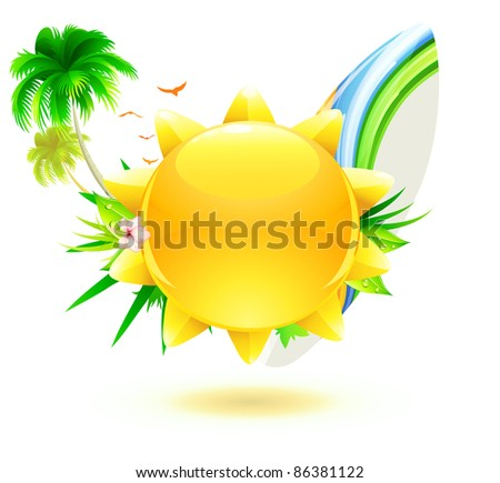 Vector illustration of funky summer background with palm trees, hibiscus flowers, surfboard and yellow sun
