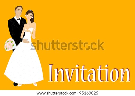 Vector illustration of funky wedding invitation with cool sexy bride and groom