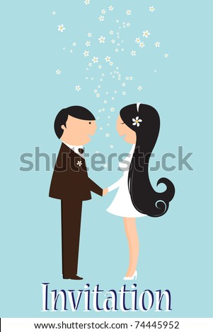 stock vector Vector Illustration of funky wedding invitation with funny