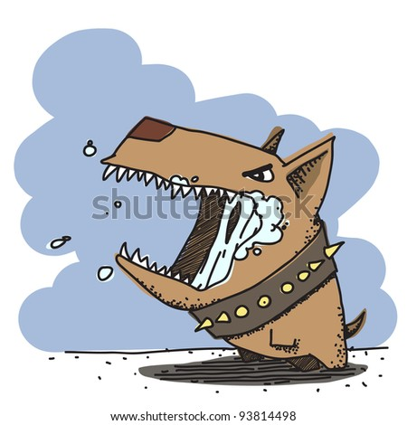Vector illustration of funny angry doggy.