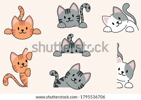 Vector illustration of funny cartoon cats, Collection of cat faces that spy on you. Vector silhouette of cats on cream background.eps 10 vector.
