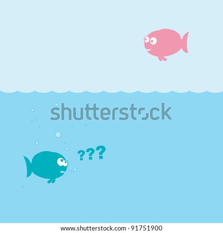 Vector illustration of funny cartoon fishes