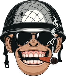 Vector illustration of funny chimpanzee monkey in a soldier's helmet smokes a cigar