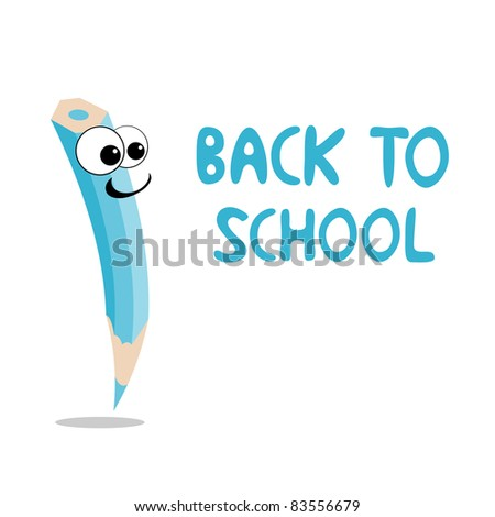 Vector illustration of funny crayon is going to school