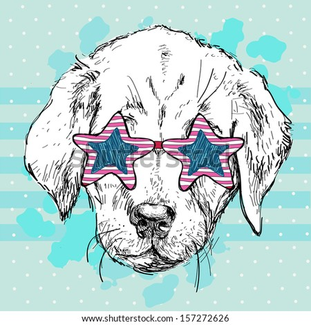Vector illustration of funny  dog in star pink glasses on blue background, Hipster puppy