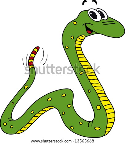 Vector illustration of funny green snake