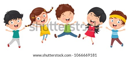 Vector Illustration Of Funny Kids Playing Outside