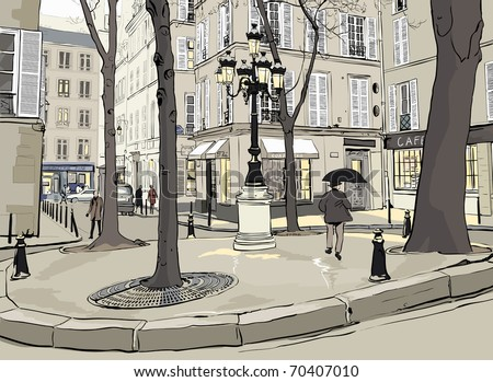 Vector illustration of Furstemberg square in paris