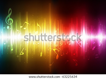 Vector illustration of futuristic abstract glowing music background