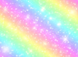 Vector illustration of galaxy fantasy background and pastel color.The unicorn in pastel sky with rainbow. Pastel clouds and sky with bokeh . Cute bright candy background .